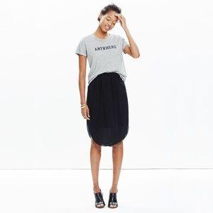 Madewell. Silk Island Skirt. Black.